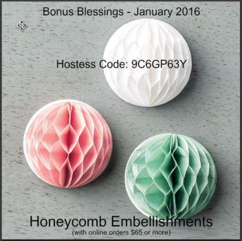 Honeycomb Embellishments - Hostess Code 9C6GP63Y