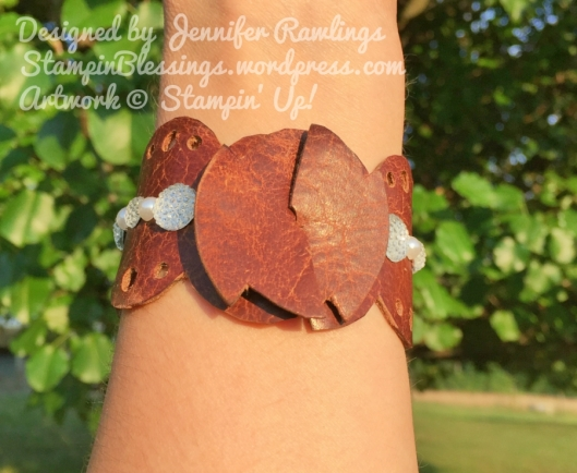 Leather Accessories / Cuff Bracelet / Clear Faceted Gems / Basic Pearls / Stampin' Up! / StampinBlessings.wordpress.com